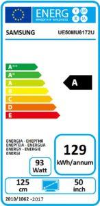 Energetický štítok Samsung UE50MU6172