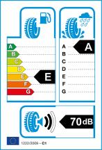 Energetický štítok víťaza testu letných pneumatík 225-45 R17 - najlepšie pneu